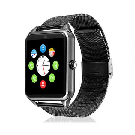AlphaOne fémszíjas fekete okos óra, SIM kártya, magyar, beépített kamera