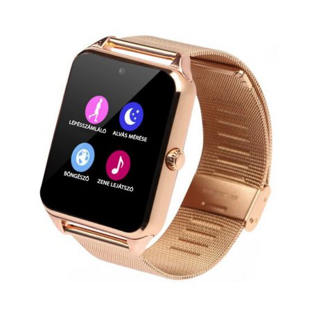 AphaOne fémszíjas okos óra, SIM kártya, magyar, beépített kamera arany holm0196