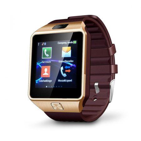 AlphaOne DZ inteligentné hodinky so zlatým, hnedým opaskom holm0205