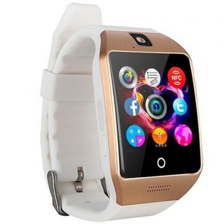 Curved Display Smart Watch Gold-White Q18
