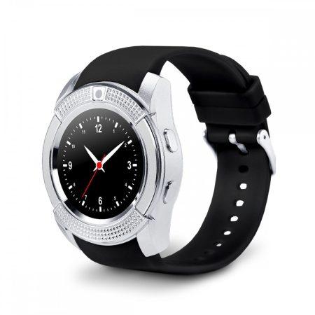 Bass V8 okos óra ezüst fekete - Sport funkció,sim foglalat,kamera, android és ios telefonokra egyaránt.