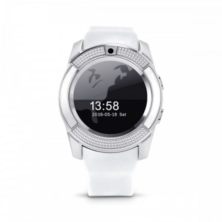Bass V8 okos óra fehér - Sport funkció,sim foglalat,kamera, android és ios telefonokra egyaránt.