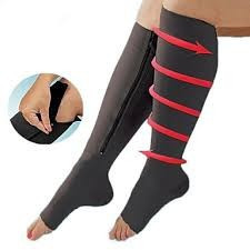 Zippered black compression socks XXL