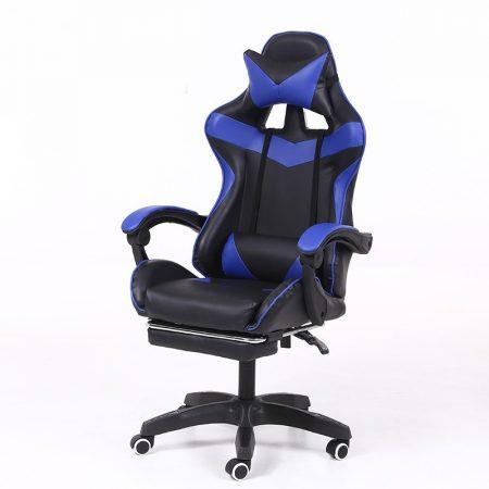 RACING PRO X Gamer szék lábtartóval, kék-fekete Ingyenes szállítással-Sokat vagy fent a neten? Vége az elgémberedett ízületeknek.