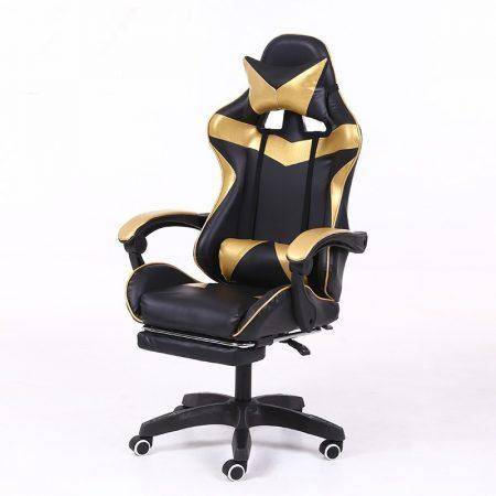 RACING PRO X Gamer szék lábtartóval, arany-fekete Ingyenes szállításal-Sokat vagy fent a neten? Vége az elgémberedett ízületeknek.