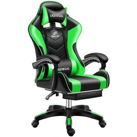 Likeregal 920 masszázs gamer szék lábtartóval zöld