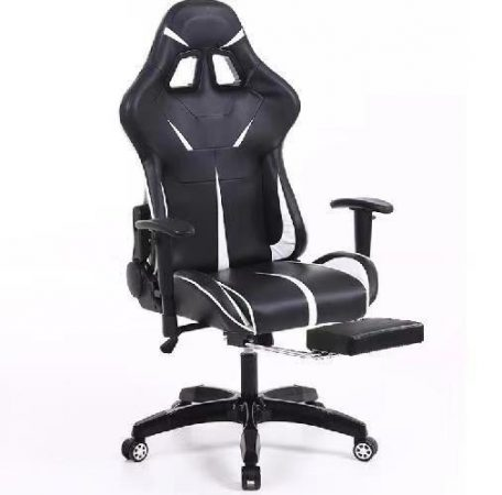 Sintact Gamer szék Fehér-Fekete lábtartóval -Megérkezett!legújabb kialakítás,még kényelmesebb felület!