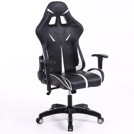 Sintact Gamer szék Fehér-Fekete lábtartó nélkül - Megérkezett!legújabb kialakítás,még kényelmesebb felület!