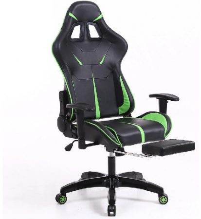 Sintact Gamer Chair with Green-Black Footrest