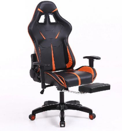 Sintact Gamer szék Narancs-Fekete lábtartóval -Megérkezett!legújabb kialakítás,még kényelmesebb felület!