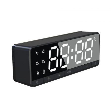 Bluetooth-os digitális ébresztőóra - fekete