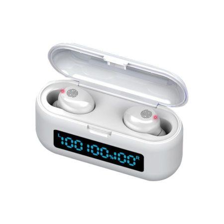 TWS F9 Bluetooth fülhallgató powerbankkal fehér