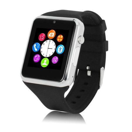 ALphaOne Magyar nyelvű okos óra SIM kártyás A1 ezüst fekete - SIM kártya,kerekített élek,MP3 lejátszás