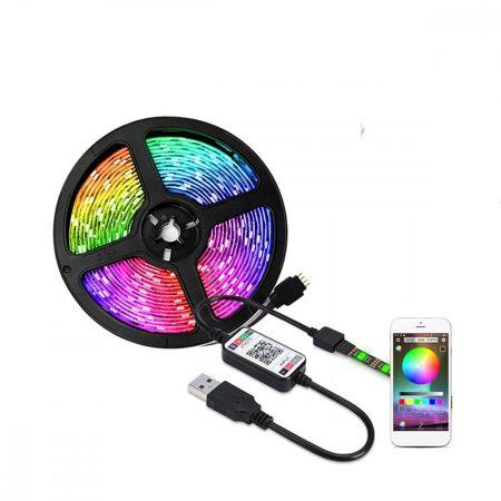 Lebit színváltós USB LED szalag mobiltelefonos távirányítással 5 méter-es