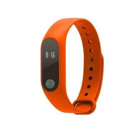 m2S Okos karkötő narancs -Pulzusmérős aktivitás mérő androidra és IOS-ra.